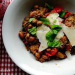 insalata di legumi al pesto e pomodorini