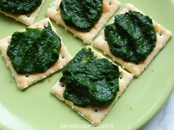 cracker con pesto do cavolo nero